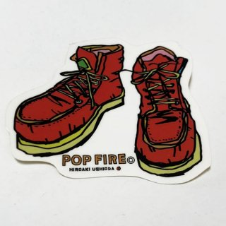 POPFIRE ポップファイヤー アウトドアステッカー ウシオダ ヒロアキ PS0019【シール かわいい 可愛い おしゃれ かっこいい ブランド アウトドア】