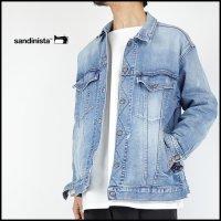 SANDINISTA(サンディニスタ)<br>B.C.Stretch Damaged Denim Jacket Easy Fit(イージーフィットダメージデニムジャケット)