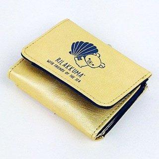 リラックマ 3ツオリサイフ シェル GD リラックマ コンパクト財布 三つ折り財布 財布 リラックマ ゴールド グッズ  (MCOR)(MCD)