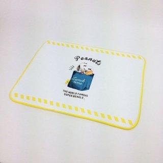 スヌーピー ミズキリFUKIN ランチタイム シングル ミズキリ 布巾 キッチンマット 黄色 グッズ