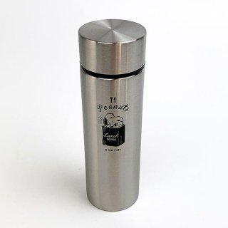 スヌーピー ポケットステンレスボトル ランチタイム BK 水筒 ミニボトル シルバー グッズ