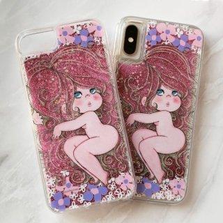 水森亜土 あどちゃん iPhoneX/XS 対応 ときめきグリッター ケース iPhoneケース スマホ ラメ グリッター ピンク グッズ (PWOR)