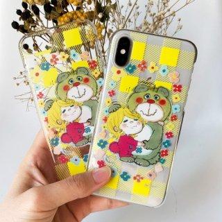 水森亜土 あどちゃん iPhoneX/XS 対応 クリアケース iPhoneケース スマホ 透明  イエロー グッズ (PWOR)