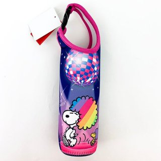 SNOOPY スヌーピー ペットボトルホルダー ダンス パーティーレインボーSN ボトルカバー  紺 グッズ(MCOR)