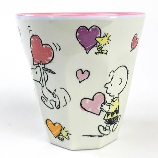 メラミンカップ ハートスヌーピー&ロゴ  (MCOR)
