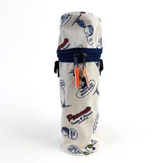 スヌーピー ショルダー付きボトルカバー ストライプ 青 グッズ