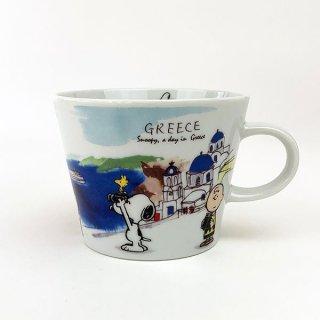 PEANUTS スヌーピー スヌーピー 世界旅行マグカップ ギリシャ マグ コップ 食器 陶器  ホワイト 日本製
