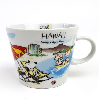 PEANUTS スヌーピー スヌーピー 世界旅行マグカップ ハワイ マグ コップ 食器 陶器  ホワイト 日本製
