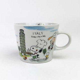 PEANUTS スヌーピー スヌーピー 世界旅行マグカップ イタリア マグ コップ 食器 陶器  ホワイト 日本製