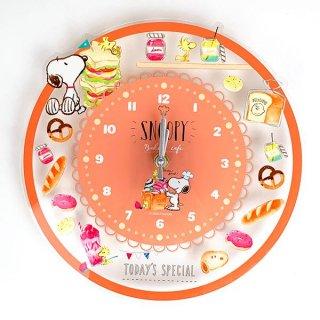 PEANUTS スヌーピー アクリル壁掛け時計 ベーカリー 時計 インテリア  オレンジ グッズ