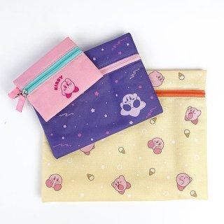 カービィ 星のカービィ 3連ポーチ キラキラ総柄セット ポーチ 3連 ケース パスケース バッグ 財布 イエロー グッズ