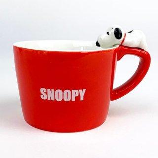 店内セール開催中!10%オフ対象商品 PEANUTS スヌーピー フィギュア付きマグカップ スヌーピー マグ コップ グッズ 陶器 レッド