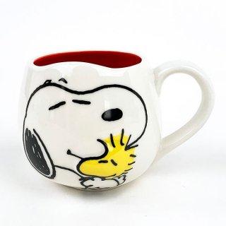 店内セール開催中!10%オフ対象商品 PEANUTS スヌーピー snoopy face mug スヌーピー&ウッドストック マグ マグカップ 食器 キッチン レッド