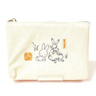 ミッフィー 鳥獣戯画 miffy×鳥獣戯画 3ルームキャンバスポーチ OR 小物入れ オレンジ グッズ  (MCOR)