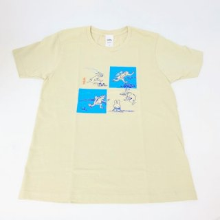 <img class='new_mark_img1' src='https://img.shop-pro.jp/img/new/icons15.gif' style='border:none;display:inline;margin:0px;padding:0px;width:auto;' />miffy ミッフィー Tシャツ Mサイズ Miffy×鳥獣戯画 灰青・4マス 洋服 鳥獣戯画 グッズ