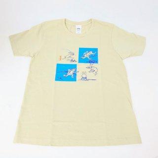 miffy ミッフィー Tシャツ Mサイズ Miffy×鳥獣戯画 灰青・4マス 洋服 鳥獣戯画 グッズ(MCD)