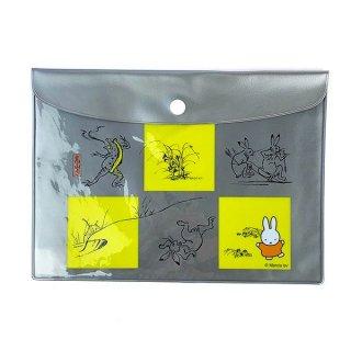 ミッフィー miffy miffy×鳥獣戯画 フラットケース 黄枠 フラットポーチ  グッズ(MCD)