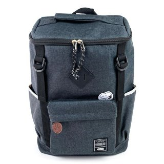 スヌーピー  スクエアリュック GY ロゴスタイル リュック エコバッグ 収納バック 買い物 エコ 持ち運び 折りたたみ(MCOR)