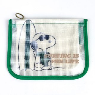 <img class='new_mark_img1' src='https://img.shop-pro.jp/img/new/icons15.gif' style='border:none;display:inline;margin:0px;padding:0px;width:auto;' />スヌーピー SNOOPY メッシュクリア レイヤーポーチ サーフ ジョー・クール グリーン グッズ  (MCOR)