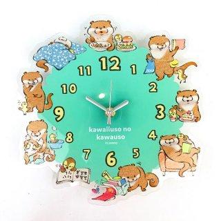 可愛い嘘のカワウソ  アクリル壁掛け時計 時計 インテリア 壁掛け 壁貼り  BLUE   (MCOR)