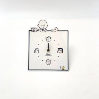 スヌーピー PEANUTS アクリル カベカケ時計 STUDY 時計 壁掛け インテリア ホワイト(MCD)