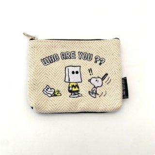 スヌーピー  PEANUTS  ティッシュポーチ 紙袋 チャーリーブラウン ウッドストック 小物 ホワイト