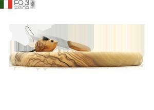 (ナイフ付き)円型ねずみ🐭オリーブ木製プレート Tagliere con topo e coltello-d22�
