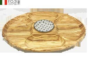【現品限り】皿付き オリーブウッド サービングプレート vassoio con ciotola in ceramica-40×30�