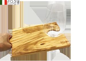 ワイングラス置きにもなる オリーブウッド カッティングボード 自然素材 tagliere puzzle-30×16cm