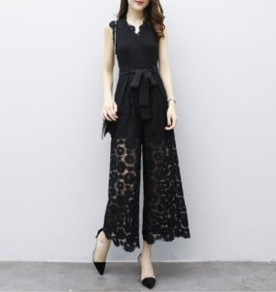大人 花柄 レース リボン Vネック オールインワン パンツ ドレス (36988361)