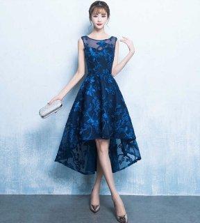 可愛い 上品 蝶々刺繍 透け感 フィッシュテール ドレス (37293211)