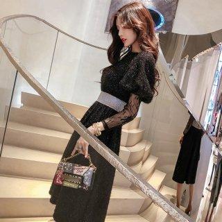 キュート 刺繍 ハイウエスト ミディアム ニット ドレス (39717485)