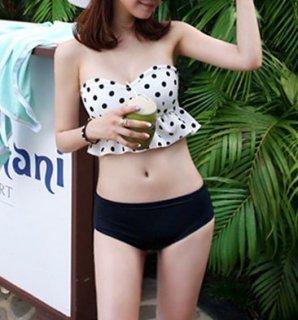 可愛い ドット フリル ビスチェ ビキニ タンキニ 水着 2色 (41885209)