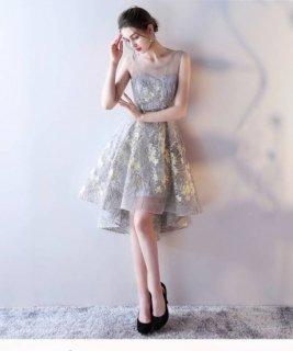 フェミニン 可愛い シースルー 花柄 フィッシュテールドレス 2色 (42191438)