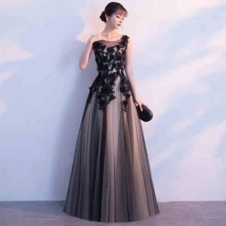 エレガント 上品 結婚式 花柄 ロングドレス 20代 30代 40代 2色 (42894924)