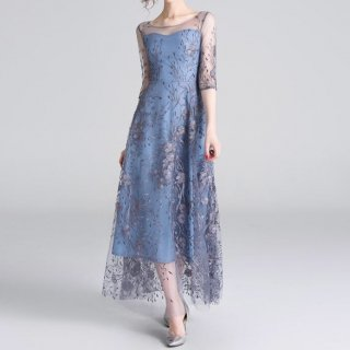 上品 フェミニン シースルー 総刺繍 七分袖 ロング ワンピース (43632011)