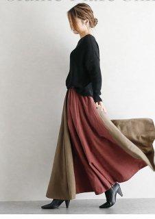レトロ ハイウエスト ロング コントラストカラー スカート 8色 (65869962)