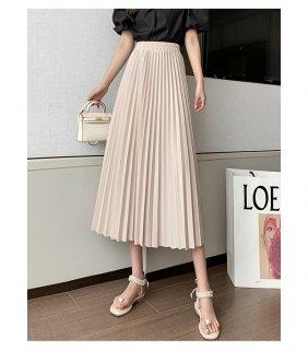 プリーツ Aライン ハイウエスト 春夏 フレンチ スカート 2色 (65872372)