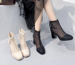 シースルー 春夏 カジュアル マーティン メッシュ ブーツ 2色 (66415597)