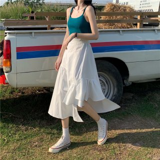 Aライン カジュアル 大人 シック ミディアム丈 スカート 2色 (68967961)