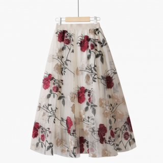 花柄 刺繍 レース フラワー フェアリー ボトムス スカート 2色 (68997721)