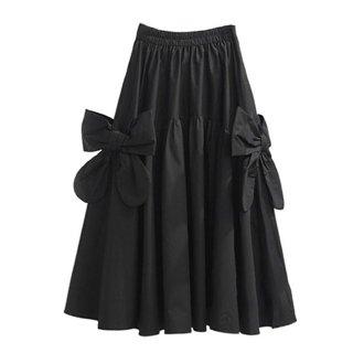 Aライン ハイウエスト リボン シフォン 可愛い スカート 2色 (69240000)