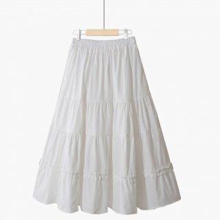 シフォン ピュアカラー 可愛い ハイウエスト スカート 3色 (69455986)