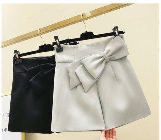 リボン ハイウエスト ワイド カジュアル ショート パンツ 2色 (69584645)