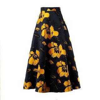 花柄 フラワー Aライン ハイウエスト レトロ スカート 3色 (69585572)