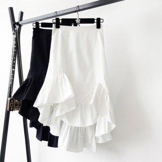 アシンメトリー マーメイド フリル ハイウエスト スカート 2色 (69846753)