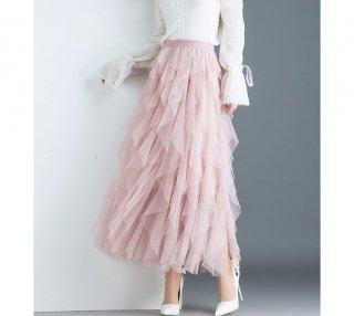 Aライン ハイウエスト チュチュ シフォン ミモレ スカート 5色 (69881760)