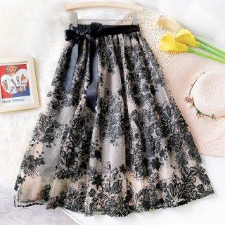 花柄 刺繍 レース リボン シフォン フレア ボトムス スカート (70138849)