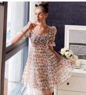 フラワー 花柄 パフスリ Aライン シフォン ワンピース ドレス (70635728)