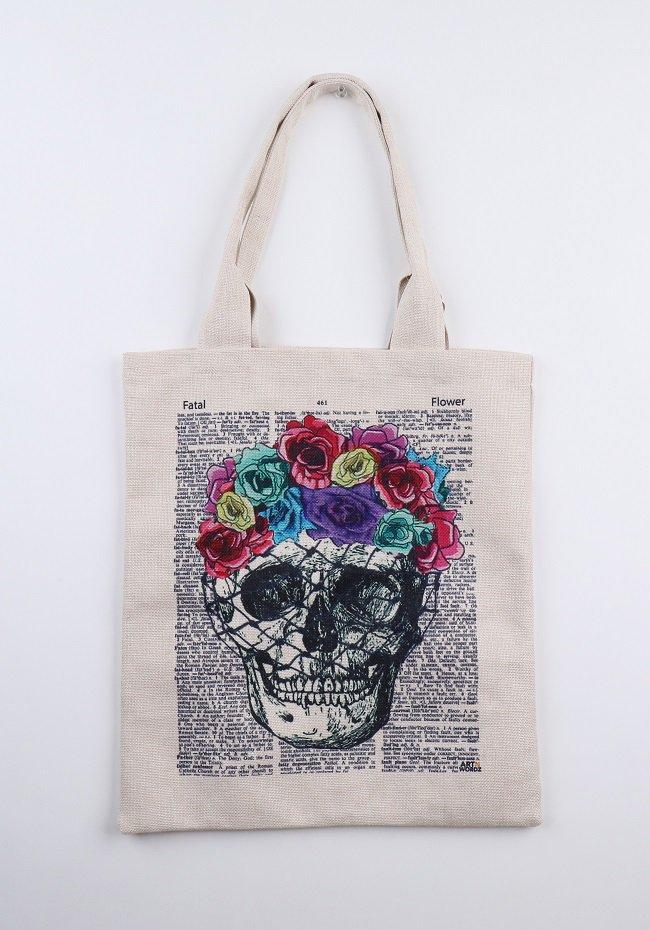 トートバックL(Flower Skull)